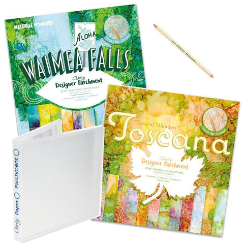 Waimea Falls & Toscana Designer Parchment Bundle + Storage Folder & Eraser Pencil