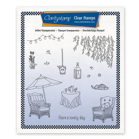 Linda's In the Garden - Wicker Chairs + Mask Unmounted Stamp Set