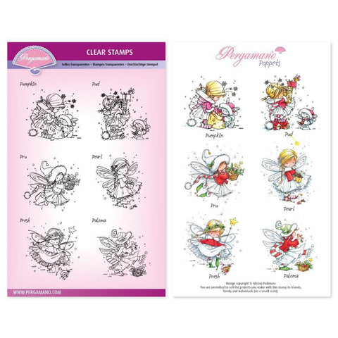 Christmas Mini Poppets Stamp Set Artwork by Marina Fedotova
