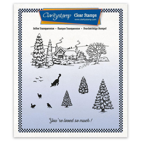 Jayne's Winter Scene - Cat A5 Square Unmounted Clear Stamp Set