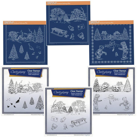 Jayne's Winter Scenes Bundle Stamps & Groovi Plates Set