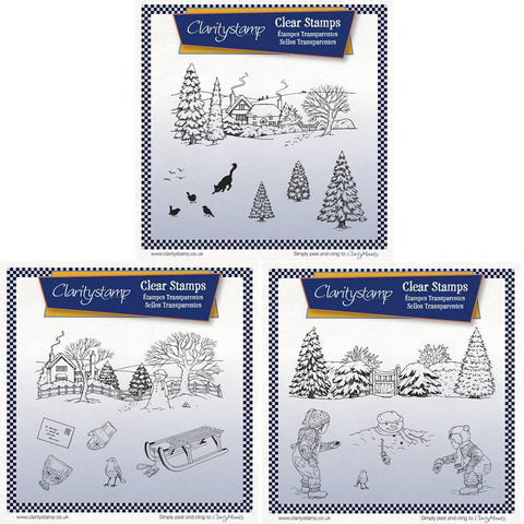 Jayne's Winter Scenes Collection <br/>Unmounted Clear Stamp Sets