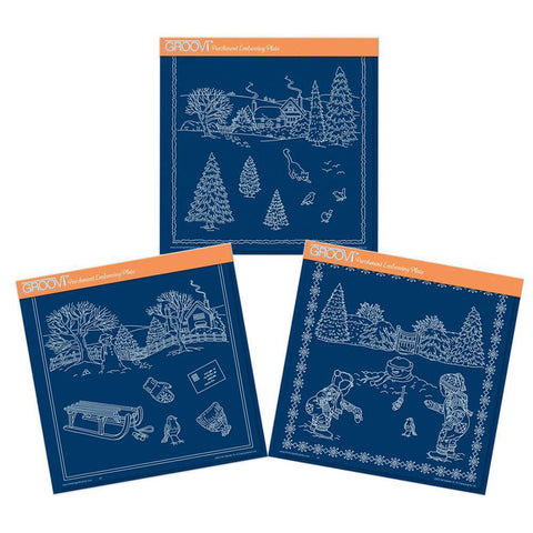 Jayne's Winter Scenes Collection <br/>A4 Square Groovi Plate Set