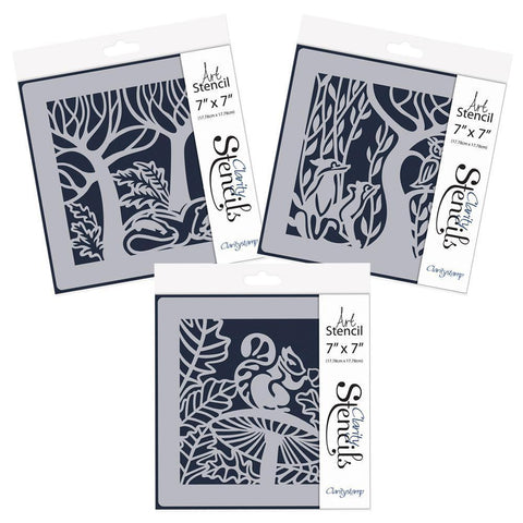 "Woodland Animals Trio 7"" x 7"" Stencil Set"