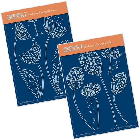 Abstract Dandelions A6 Groovi Plate Set