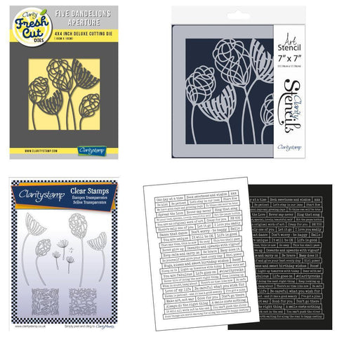 Dandelion Collection Stamps, Die, Stencil & Stickers Bundle