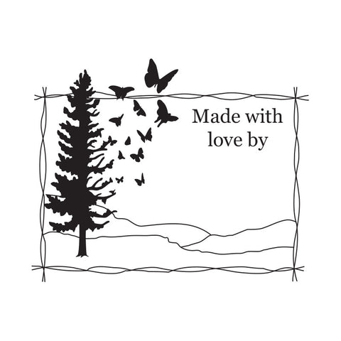 Flutterby Stamp - 'Made With Love By'