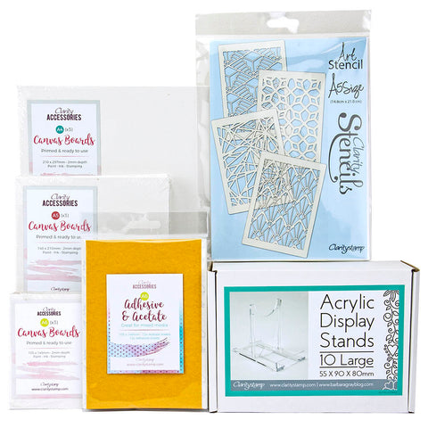 Geo Stencils & Canvas Board Collection