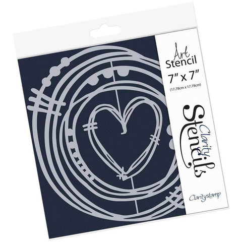 "Leonie's Nested Heart Scribbles Stencil 7"" x 7"""