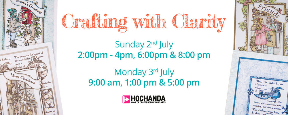 Carousel image advertising the upcoming Clarity Essentials TV show on HOCHANDA this Sunday 28th May at 11am, 2pm and 5pm. Hosted By Rossella Cottrell.
