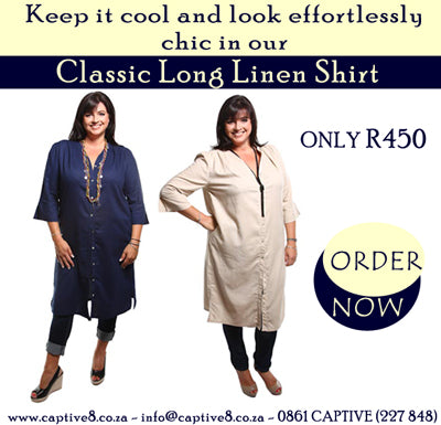 Captive8 Plus Size Classic Long Linen Shirt