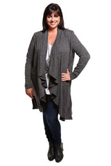 Captive8 House of Fashion Cascade Mid-Length Cardigan Dark Grey