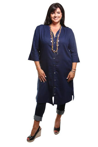 Captive8 Plus Size Classic Long Linen Shirt Navy