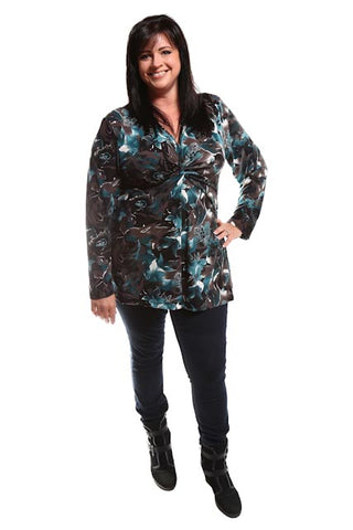 Captive8 House of Fashion Marilize Long Sleeve Top Brown/Teal/Floral