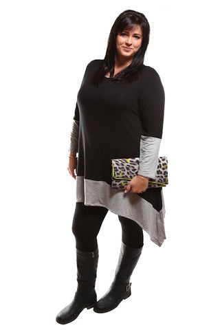 Captive8 House of Fashion Asymmetrical Top Two-tone Black/Grey