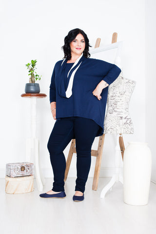 Captive8 House of Fashion Plus Size Luna Top Navy