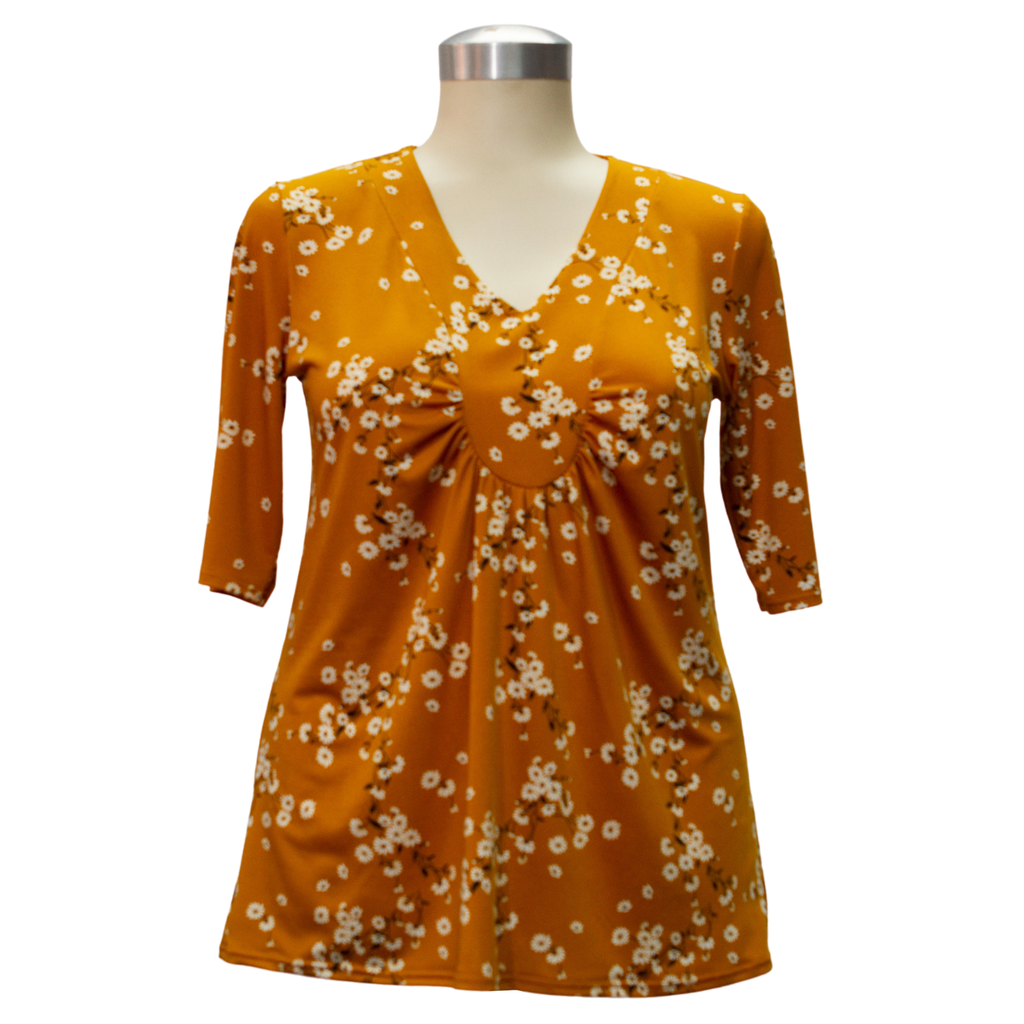 Shelley Short Sleeve Top Mustard Floral Print