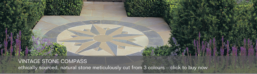 Vintage Stone Compass - ethically sourced, natural stone meticulously cut from 3 colours - click to buy now