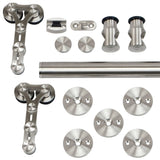 European Style Dual Wheel Strap Stainless Steel Door Kit