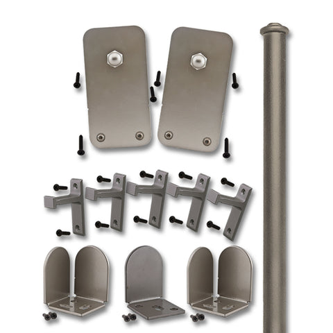 Satin Nickel Plato Double Rolling Door Kit
