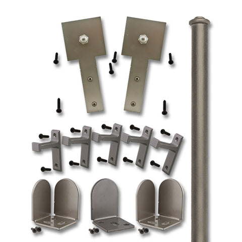 Satin Nickel Shakespeare Double Rolling Door Kit