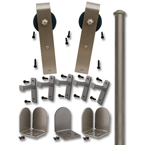 Satin Nickel Scepter Single Rolling Door Kit