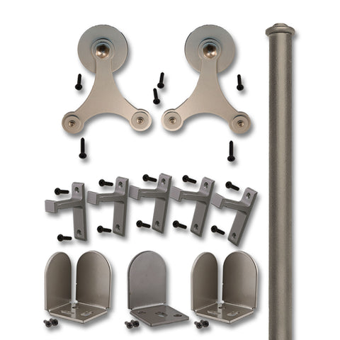 Satin Nickel Trinity Double Rolling Door Kit