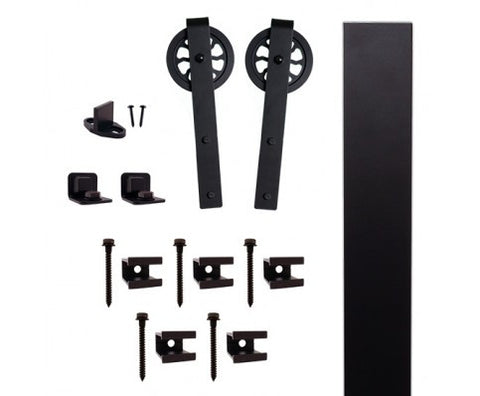 "Black Flat Rail Hook Strap Rolling Door Kit W/5"" Wheel"