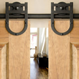 Black - Black Lucky Charm Double - Barn Door Hardware Kit