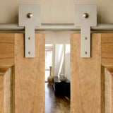 Satin - Shakespeare Satin Nickel Double - Barn Door Hardware Kit