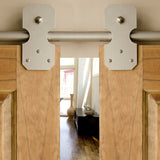 Satin - Bowie Satin Nickel Double - Barn Door Hardware Kit