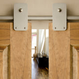Satin - Plato Satin Nickel Double - Barn Door Hardware Kit