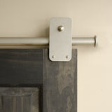 Satin - Plato Satin Nickel Double - Rolling Door Hardware Kit