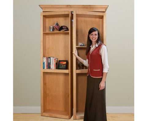 "InvisiDoor Bifold Bookcase 60"" Wide - Unfinished Red Oak"