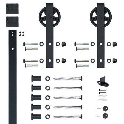 Black Flat Track Single Door Hardware Kit