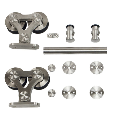 Dual Wheel Top-Mount Style Stainless Steel Door Hardware Kit