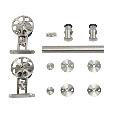 Spoke Wheel Top-Mount Style Stainless Steel Door Kit