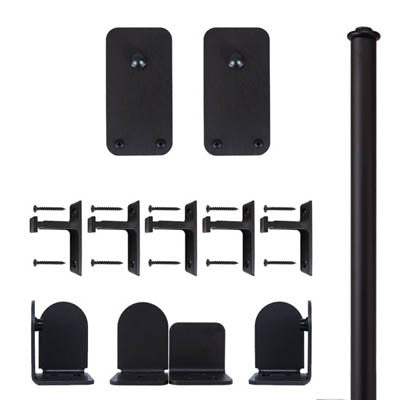 Black - Black Plato Double - Rolling Door Hardware Kit