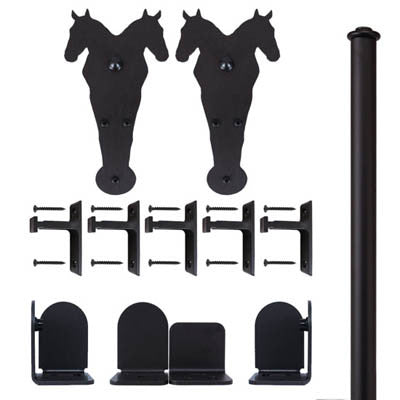 Black - Black Durango Double - Rolling Door Hardware Kit