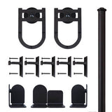 Black - Black Lucky Charm Double - Rolling Door Hardware Kit