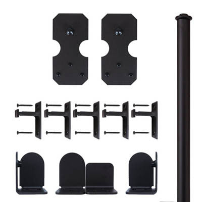 Black - Black Bowie Double - Rolling Door Hardware Kit