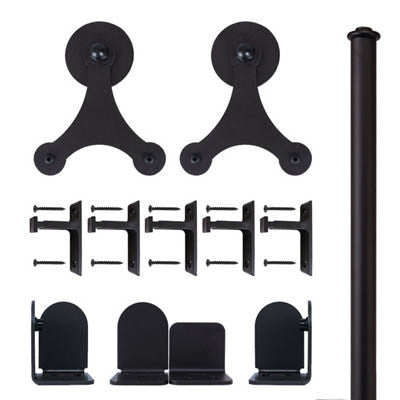 Black - Black Trinity Double - Rolling Door Hardware Kit