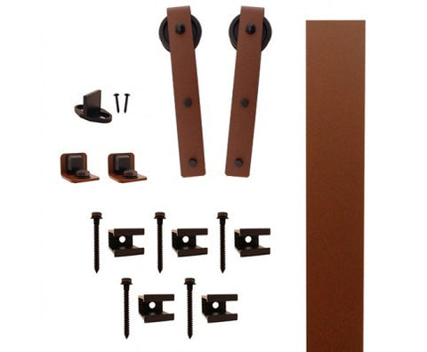"New Age Rust Flat Rail Hook Strap Rolling Door Kit W/3"" Roller"