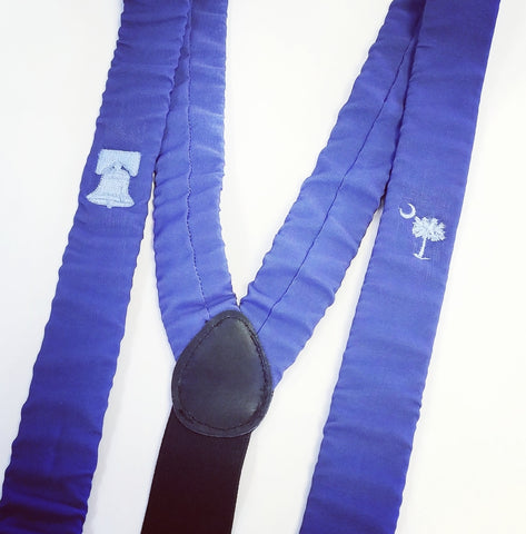 suspenders with custom embroidery