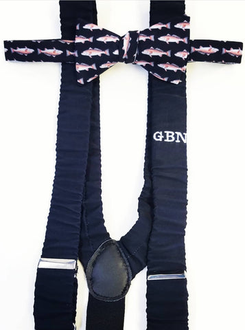 black suspenders with monogram
