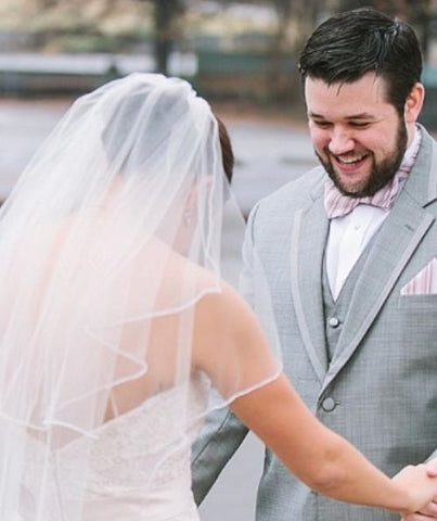 Bride And Groom With Custom Bow Tie And Pocket Square