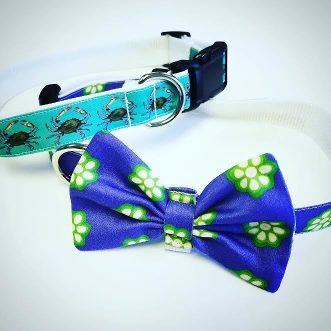 Custom Dog Bow Tie Collars With Crabs And Okra