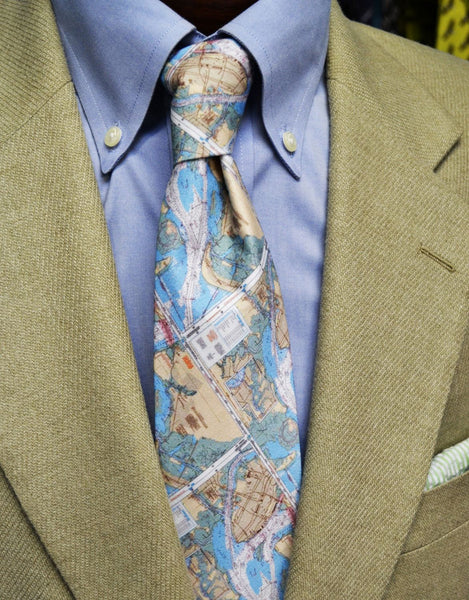 Charleston South Carolina Chart Map Handmade Barry Beaux Necktie