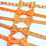 orange dental and orthodontist themed bow ties