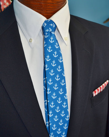 Anchors On Royal Blue Handmade Necktie